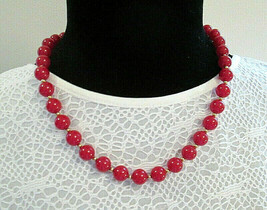 Vtg Signed MONET Cherry Red Necklace Lucite or Plastic & Goldtone Glossy... - $13.00