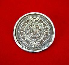 "Vintage Signed ""Temcha"" Mexican Sterling Silver Mayan Calendar Brooch Pin  - $37.23"