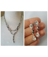 Givenchy Signed Vintage Jewelry Set Silver Tone Crystal Necklace & Earrings - $167.39