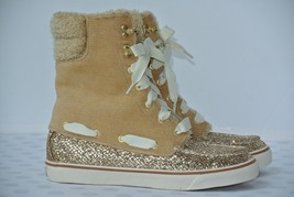 Sperry Top Sider Acklins Womens Sz 6.5 M Tan Sparkle Laced Corduroy Ankl... - $29.69