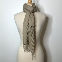 """Beige Scarf with Fringe 100% Acrylic Made in China 21"""" X 50"""" - $18.69"""