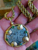PENDANT 1697 PERU 8 REALES PIRATE GOLD TREASURE SILVER COIN & EMERALDS J... - $3,950.00