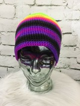 Beanie Hat Cap Neon Psychedelic Stripes Knit - $14.84