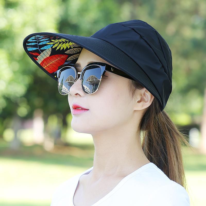 Floral Sun Hats for Women Summer Wide Large Brim Floppy Beach Folding Sun Protec image 2
