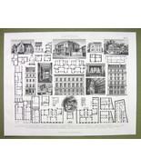 ARCHITECTURE Apartment Buildings Villas Facades Plans - 1870s Engraving ... - $12.15