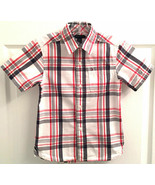 Tommy Hilfiger Boys XS 4-5 Red Gray White Plaid Short Sleeve Button Shir... - $5.93