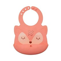 Tiny Twinkle Silicone Roll-Up Bib - Coral Fox - Waterproof Toddler and Baby bib