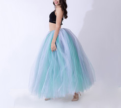 Women RAINBOW Maxi Skirt Drawstring Waist Mint Gray Maxi Tulle Skirt Pet... - $38.99