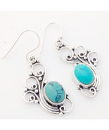 Turquoise Solid 925 Sterling Silver Peacock Earrings, Handmade Jewelry f... - $27.99