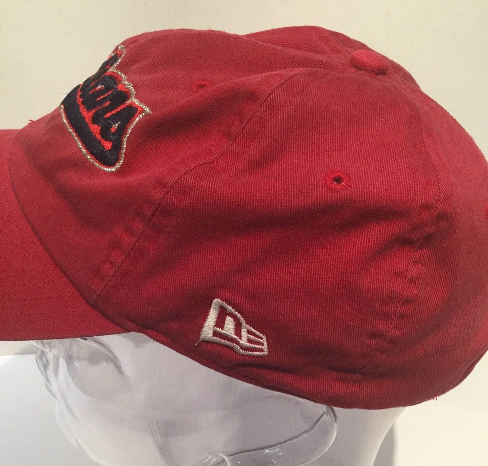 Cleveland Red Script Indians Baseball Hat Cap Adjustable Cloth Strap Clean EUC