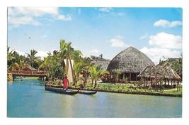 Hawaii Laie Polynesian Cultural Center Samoan Canoe on Lagoon Vintage Po... - $6.69