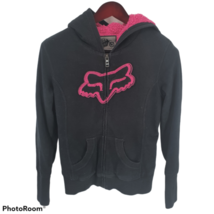 Fox Hoodie Fleece Lined Embroidered Full Zip Black Mens Small - $49.49