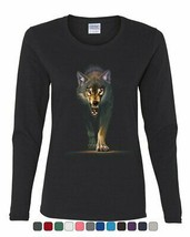 Stalking Growling Wolf Women's Long Sleeve Tee Claws and Fangs Wolf On the Hunt - $17.99+