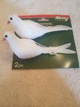 2 white doves Christmas Tree Ornaments upc 639277311665 - $25.62