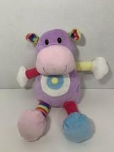 Best Made Toys purple plush hippo hippopotamus rainbow stripe multicolor rattle - $19.79