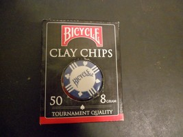 Bicycle Poker Chips Box of 50 Clay Filled 8 Gram  Blue - $5.00