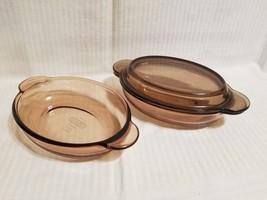2 Corning Ware Vision Amber Oval Grab It Bowl V-14-B & Pyrex Lid P-14-C - $24.99