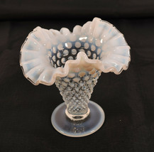 "Vintage Carnival Glass Vase Hobnail Clear Opalescent White Fenton 5"" - $94.05"