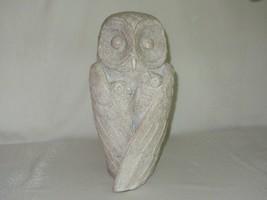 Large Cement Concrete Owl Figurine w 2 Babies Vtg Garden Sculpture Rusti... - $50.48