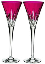 Waterford Crystal Lismore Pops Hot PINK Champagne Flute Pair 40019535 Ne... - $258.90