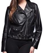 Women's Black Belted Leather Jacket, Fashion Leather Jacket for Women - $144.99+