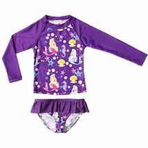 JESKIDS Girls Swimsuit Rashguard Set Summer Beach Breathable Tankini Pur... - $20.02