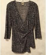 Anne Klein Wrap Blouse Top White Black Stretch Shirt 3/4 Sleeve V Neck S... - $28.00