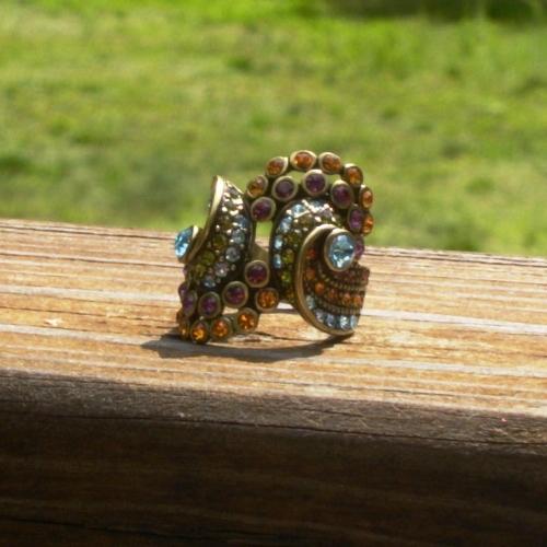 Vintage Heidi Daus Ring, 7, Multi Color Crystals, Regal Swirl, Signed Heidi Daus