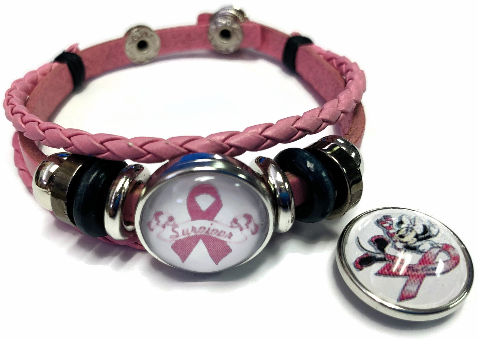 Minnie Mouse Breast Cancer Snaps & Pink Leather Bracelet W/2 Snap Jewelry Charms image 2