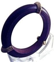 Vintage Brown Natural Wood and Gold Tone Bangle Bracelet - $32.00