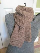 Fashion Scarf Seller Handmade Hand Knit Basketweave Lt Brown Acrylic 10 ... - $12.00