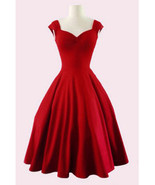 Vintage Midi Party Dress - Red / Sweetheart Neckline / Cap Sleeve - $25.00