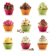 12 pcs Silicone Muffin Cake Chocolate Cupcake Liner Baking Cup Bakeware ... - $6.90