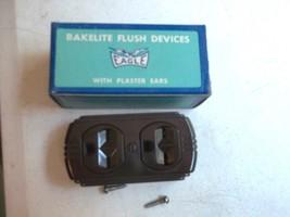 Vintage Eagle Bakelite Double Tap Outlet Flush NOS No.74 Brown Color 15A-125V~ - $19.34
