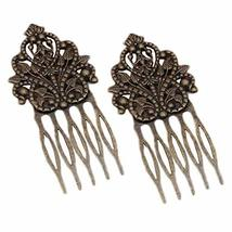 3 Pcs Retro Bronze Metal Side Comb Dunhuang Hair Ornaments Hairpin Decorative Br