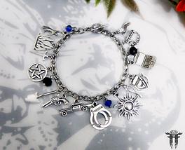 Supernatural TV Series inspired Beaded Charm Bracelet Sam Dean Winchester - $17.00