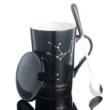 Sagittarius Black Bone Mug With Stainless Steel Spoon Zodiac Ceramic Cup... - $35.35