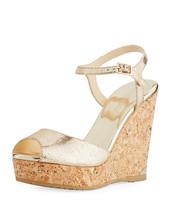 Jimmy Choo Perla Metallic Platform Wedge Sandals MSRP: $525.00 Size 40.5 - $331.65