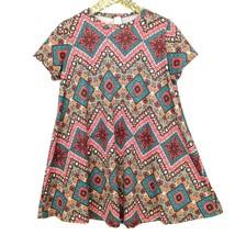 Loving People Womens T-Shirt Dress M Medium Red Teal Black Grey Short Sl... - $338,88 MXN