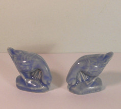 Two BLUE Goose English Wade Figurine Miniature Porcelain Solid Vintage - $9.75