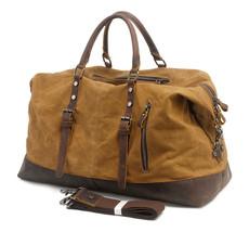 Oversized Canvas Leather Trim Travel Tote Duffel shoulder handbag Weeken... - $1.149,95 MXN