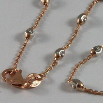"18K ROSE & WHITE GOLD ROLO ALTERNATE CHAIN NECKLACE 3mm FACETED OVAL BALLS 16"" image 2"