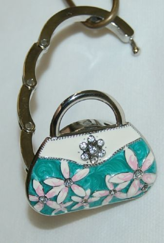 Magnetic Collapsable Handbag Shaped Purse Holder SilverTurquoise White Pink