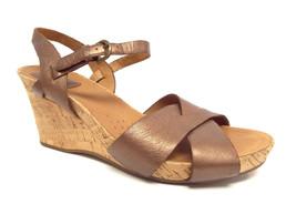 CLARKS Artisan Size 8.5 Bronze Metallic Ankle Strap Cork Sandals Shoes 8 1/2 - $44.00