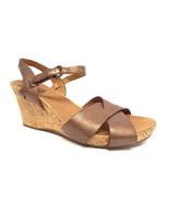 CLARKS Artisan Size 8.5 Bronze Metallic Ankle Strap Cork Sandals Shoes 8... - $44.00
