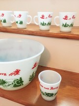 Vintage 50s Hazel Atlas Tom & Jerry/Eggnog Punchbowl Set image 2