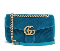 Gucci GG Marmont Chain Shoulder Bag Petrol Blue Velvet 446744 Auth New U... - $2,160.25