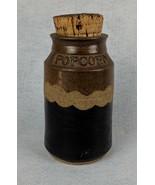 Vintage Signed Pottery Pocorn Jar with Cork Lid - $22.17
