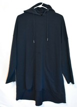 Missguided Women' Oversized Navy Blue Raw Hem Hoodie Sweatshirt Dress Size 2