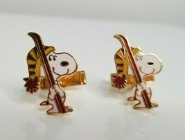 SNOOPY Aviva Yellow Beanie SKI Winter Peanuts Cartoon Vintage Tie Bar Pair - $19.99